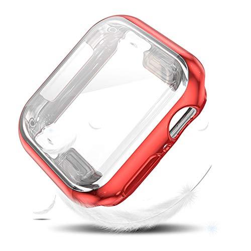 MPWPQ Coperchio Flessibile della Protezione dello Schermo per l orologio Apple SE Caso Serie 6 5 4 3 TPU Bumper 40mm 44mm 38mm 42mm per Shell iwatch (Color : Red, Dial Diameter : 38mm)