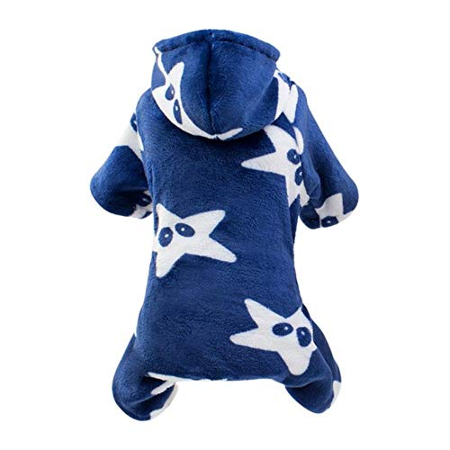 Xinger schattige hond warme winterkleding jumpsuit puppy kat flanel 4-legged jas huisdier kleding outfit voor kleine middelgrote honden katten, donkerblauw, L