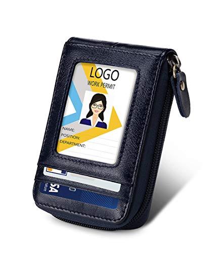 Porta carte di credito, portafoglio in pelle con chiusura a cerniera ID finestra RFID, custodia per carte di credito - - Large