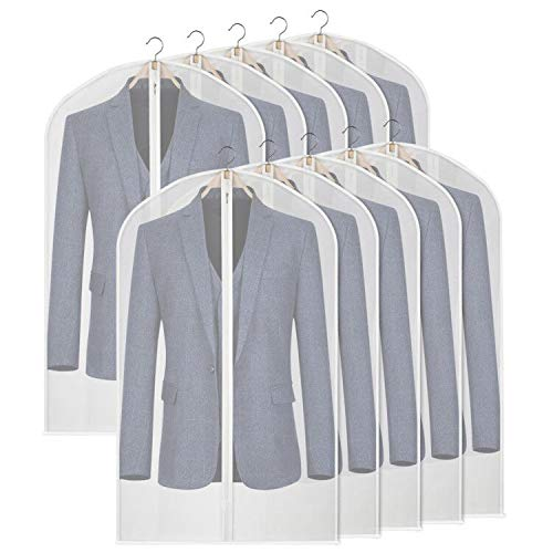 Syeeiex Waterproof and Mothproof Garment Bags PEVA Translucent Coat Bags for Wardrobe Dustproof Hanging Clothes Covers Storage Breathable Suit Covers(10 Pack,60cm*101cm)