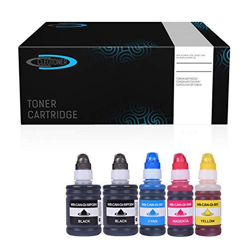 Cleotoner Multipack 5X Tintenbehälter kompatibel mit Canon GI50 für Pixma G6050 G5050 G7050 G7040