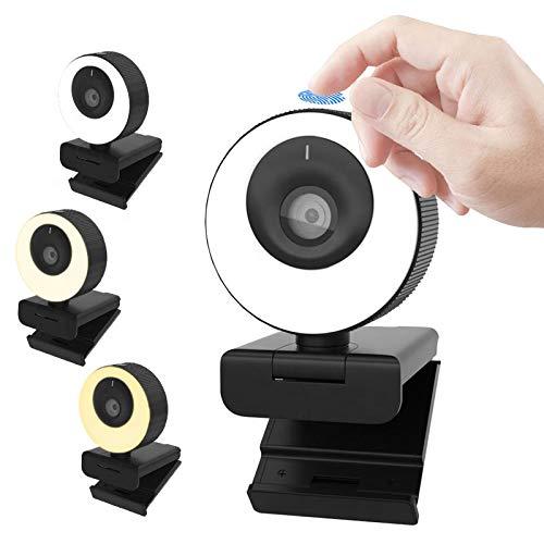 Webcam WB PRO Com Luz Ring Light 60 FPS Full HD 1080p 3 Temperaturas Tampa de Privacidade Magnética Microfone Embutido Duplo Alta Qualidade