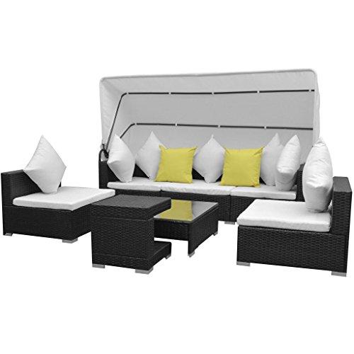 7-delige Loungeset met luifel poly rattan zwart