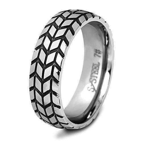 CBCJU 6MM Edelstahl Reifen Ring Einfache Herrenring europäischen und amerikanischen Stil Persönlichkeit Schmuck Männer 10# Stahlfarbe