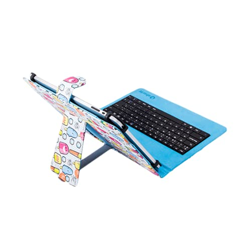 """SilverHT - Funda Universal Estampada con Teclado Micro USB para Tableta de 9"""" a 10.1"""", color Azul"""