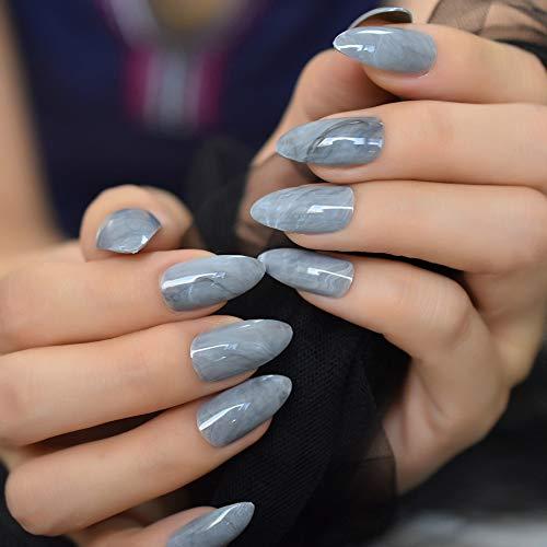 chenche Nagelaufkleber für Mädchen Glatte graue Marmorstilettos, falsche Nägel, mandelförmige mandelförmige graue Stilettos, kein Kleber auf dem falschen Nagel