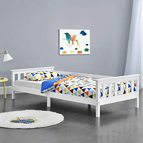 [en.casa] Kinderbett mit Stauraum 90x200 cm Jugendbett bis 100 kg mit Lattenrost Kojenbett Kiefernholz Weiß
