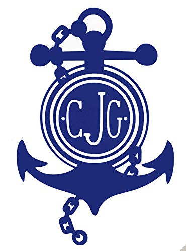 Custom Initial Monogram Vinyl Decal Bumper Sticker, for Tumblers, Laptops, Car Windows - Personalized Letter Chained Nautical Anchor Design