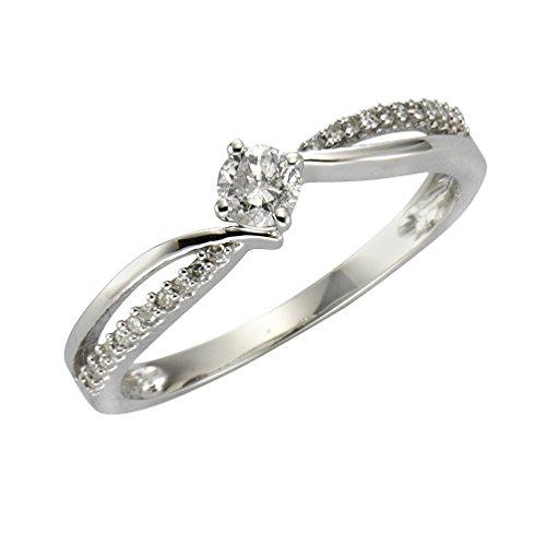 Diamonds by Ellen K. Damen Ring 14 Karat 585 Gold weiß rhodiniert Diamant 0.25 ct Rundschliff weiß Gr. 57 (18.1) 317370027-1-018