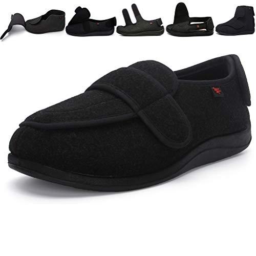 Jinbeile X-Weit Zapatos ajustables con cierre de velcro para mujer y hombre para diabéticos, talla grande, color Negro, talla 39 EU X-Weit 🔥