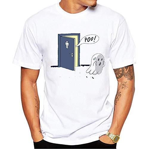 VisvimQ Das T-Shirt Der Poo-Toiletten-Geist-Männer Lustiges Druck-T-Shirt (Farbe : White, Size : XXXL)