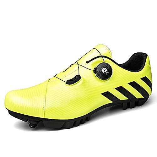 AGYE Calzado de Bicicleta de Montaña,Bicicleta Transpirable Bicicleta Antideslizante Sistema SPD Zapatos de Ciclismo Hombres Adultos,Green-46