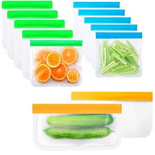 12 Bolsas para Alimentos Reutilizables con Cremallera de Silicona para Almacenamiento de Alimentos en Frigorífico Sello Hermético para Congelador Material PEVA (12 Piezas)