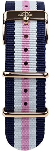 Sailor Damen Herren Nylon Armband Port Side blau-weiß-rosa BSL101-2012-20, Breite Armband:20mm (norm