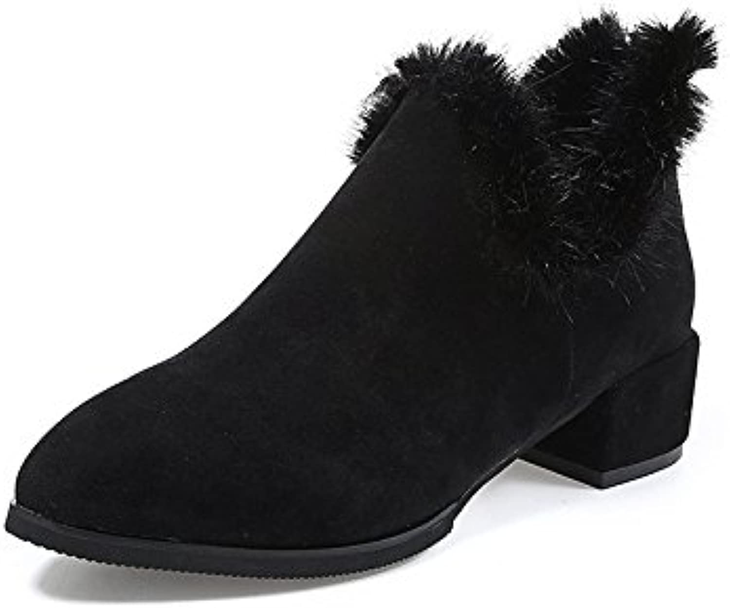 WYMBS Women's shoes Female Boots Autumn Winter Pointed Rough England Suede Plush Zipper,Black,38
