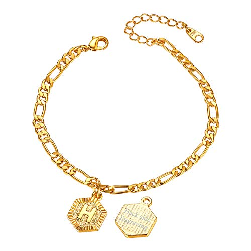 FOCALOOK Name Anklets for Teen Girls Women Gold Plated Initial Letter Alphabet Capital Jewellery Birthday Graduation Gift for Her(H)