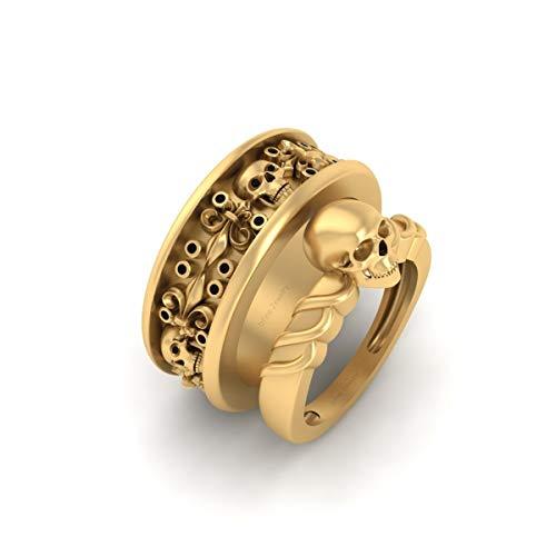 Classic Black Diamond Gothic Skull Engagement Ring French Flower Wedding Band Set Solid 10k Yellow Gold Skull Couple Set