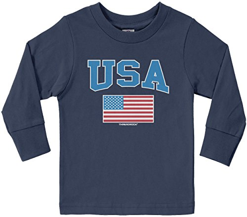 Threadrock Little Boys' USA Text and American Flag Toddler L/S T-Shirt 5/6 Navy