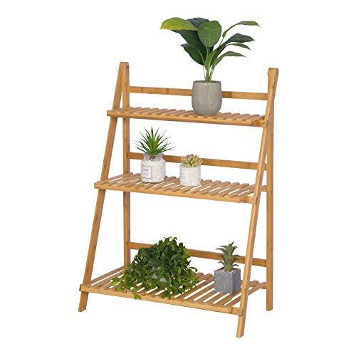 WOLTU Escalera para Plantas de Bambú Estantería para Flores con 3 Niveles Naturaleza 70 x 37 x 96,5cm RG9348br