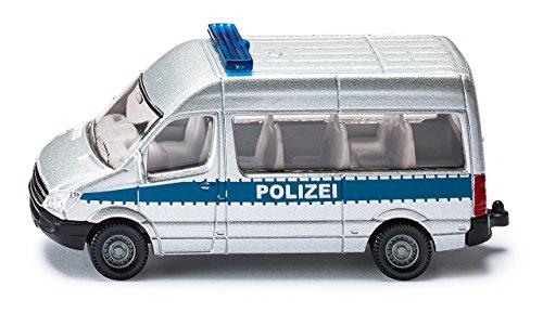 Siku 0804, Polizeibus, Metall/Kunststoff, silber, Anhängerkupplung, Spielzeugauto für Kinder