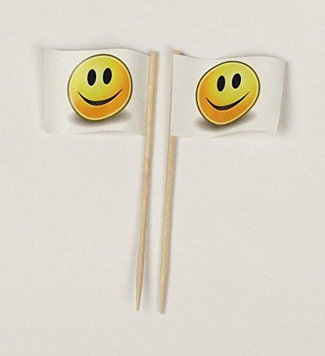 Buddel-Bini Party-Picker Flagge Smiley weiß gelb Smily Papierfähnchen in Spitzenqualität 50 Stück Beutel