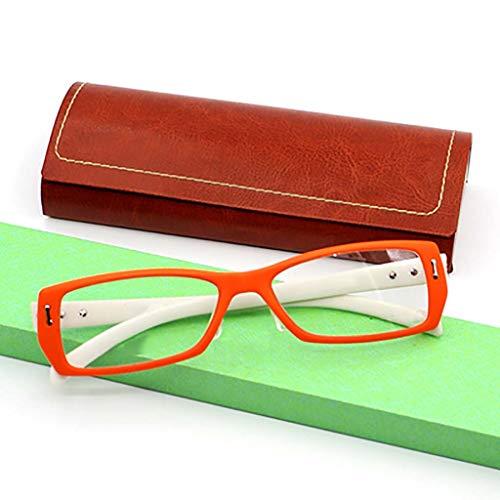 Equipo Gafas de lectura,Protección radiológica Anti-fatiga Los lectores de moda Marco completo Hd Peso ligero Unisex-naranja +4.0