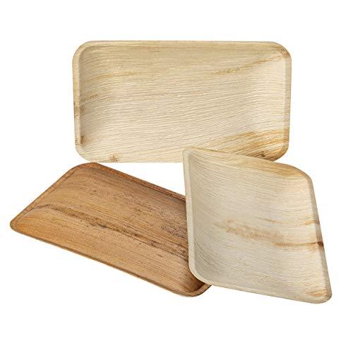 IMSCO Palmblatt Einweggeschirr I 25 Teller XL rechteckig 30,5 X 18 cm I hochwertig unbehandelt umweltfreundlich biologisch und kompostierbar Wegwerfgeschirr