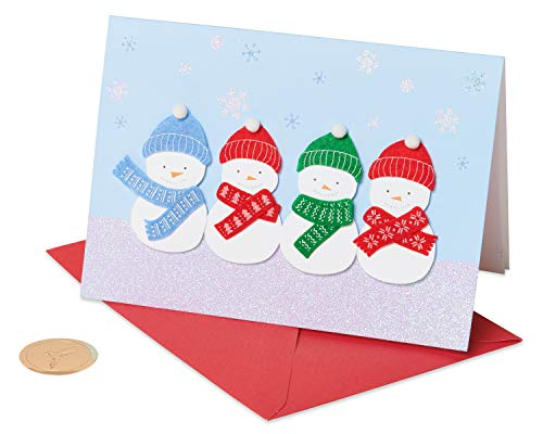 Papyrus 5886336 Christmas Cards Boxed, Holiday Snowman Glitter (8-Count), Snowman 8/Pkg