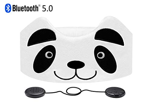 Kids Headphones, ASIILOVI Wireless Bluetooth V5.0 Hands-Free Soft Headband with Ultra-Thin Speakers and Mic Children's Earphones for Girls & Boys, School, Calls, Home and Travel (A-Panda)