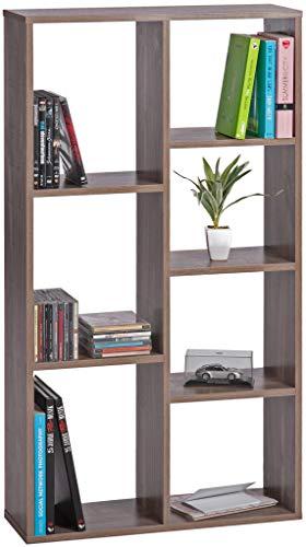 ts-ideen Design Regal Hochregal Standregal Bücherregal CD-Regal Aufbewahrung Holz Eichenoptik Dunkel