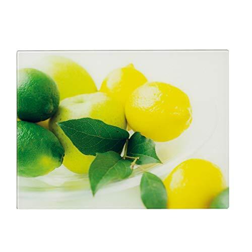 Zeller 26266 - Tabla de cortar de cristal con diseño de limones, 40 x 30 centímetros