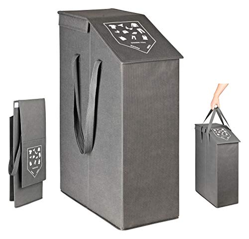 TOPP4u Wäschesammler schmal mit Deckel - Nischen-Wäschekorb mit viel Volumen 52 Ltr - 20 x 45 x 60 cm - Wäschekorb klein, faltbar, grau
