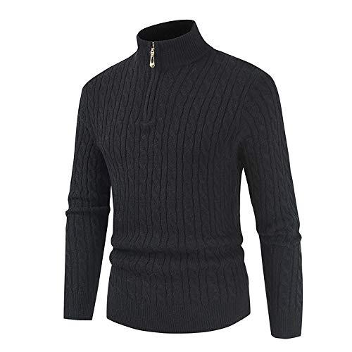 Jersey de Punto Trenzado con Cremallera de Cuello Alto para Hombre Color sólido Slim Fit Moda Simple Casual Versátil Cómodo suéter cálido M