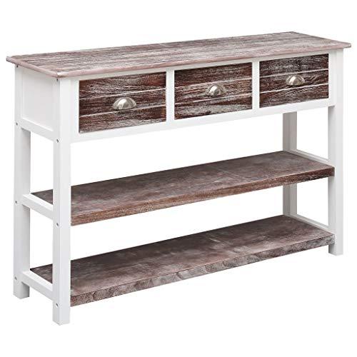 vidaXL Holz Sideboard mit 3 Schubladen 2 Fachböden Beistellschrank Mehrzweckschrank Anrichte Kommode Schrank Flurschrank Antik-Braun 115x30x76cm