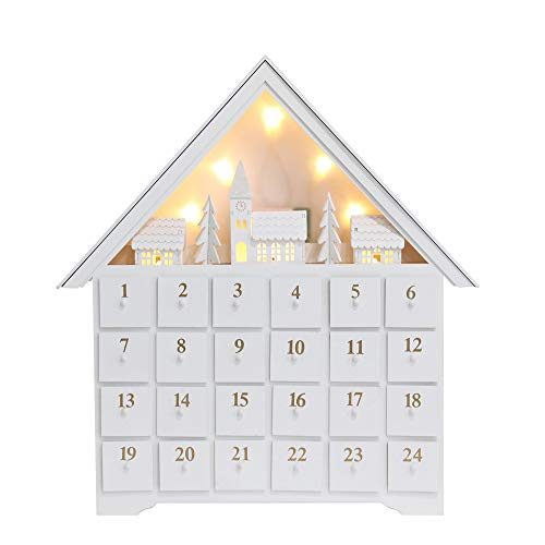 PIONEER-EFFORT White Christmas Wooden Advent Calendar House with Large Drawers for Adults Kids Christmas Countdown Decoration (Large-01)