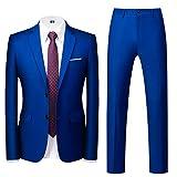 MOGU Mens Slim Fit Suit 2 Piece Tuxedo for Daily Business Wedding Party (Suit Jacket + Pants) US Size 30 Royal Blue