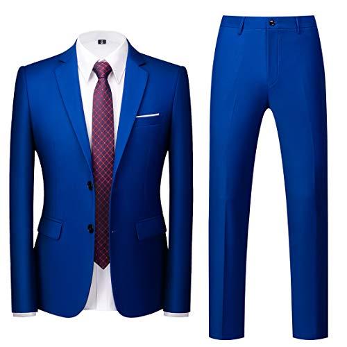 MOGU Mens Slim Fit Suit 2 Piece Tuxedo for Daily Business Wedding Party (Suit Jacket + Pants) US Size 44 Royal Blue