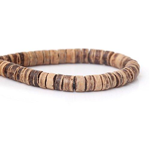 Sadingo - Perline di cocco per gioielli, in legno naturale, piatte, dischi in cocco, 160 perle su un filo da 8 mm, colore: Marrone