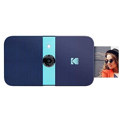 KODAK Smile Cámara digital de impresión instantánea, Cámara de 10MP que abre al deslizarse c/impresora 2x3 ZINK, Pantalla, Enfoque fijo, Flash automático y edición de fotos, Azul