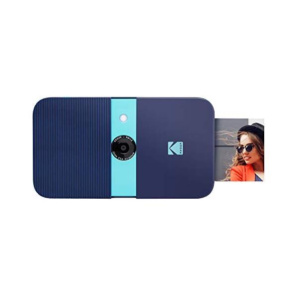 Zink KODAK Smile Instant Print Digital Camera – Slide-Open 10MP Camera w/2×3 ZINK Paper, Screen, Fixed Focus, Auto Flash & Photo Editing – Blue