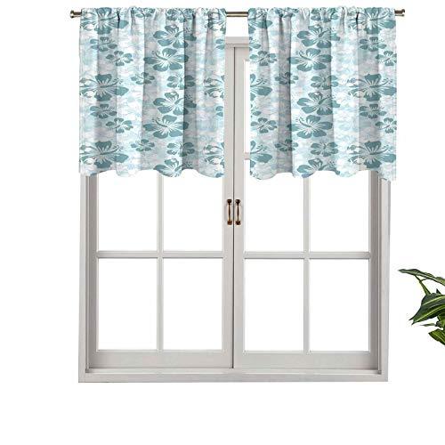 Cenefa de cortina con aislamiento térmico para zonas remotas de selva tropical, palmeras y palmeras de los tiempos felices, juego de 1, 132 x 45 cm para dormitorio, baño y cocina