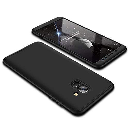 """Kit Capa Capinha Anti Impacto 360 Full Para Samsung Galaxy A8 Com Tela 5.6"""" Polegadas - Case Acrílica Fosca Com Película De Vidro Temperado - Danet (Todo Preto)"""