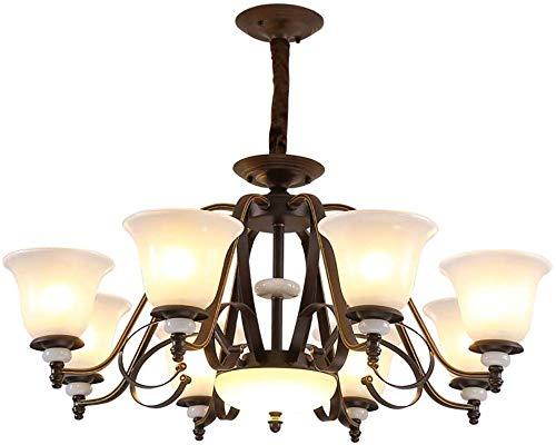 8-Light kroonluchter plafondlamp, 8 armen decoratieve Jade hanglamp voor slaapkamer woonkamer restaurant bar, E27 Lamp Houder, A