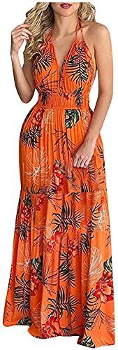 LYDIANZI Mujeres De Verano Playa Sundress Sundress Tropical Floral Gráfico Vestido Largo Halter Sin Espalda Cintura Alta Ruffle Maxi Vestido(Size:Pequeña,Color:Naranja)