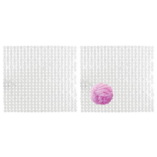 mDesign Set da 2 Tappetino Doccia con Fondo Antiscivolo – Accessori da Bagno per Doccia – Fissaggio a Ventosa – Tappeto Antiscivolo in plastica – Base Forata – Trasparente