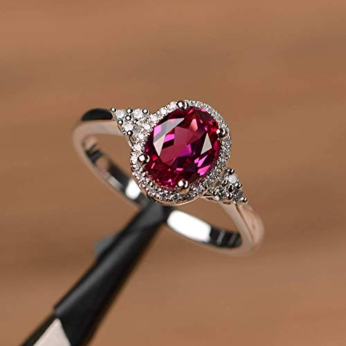 Opal Jewelry Elegant Oval Red Ruby Halo Wedding Ring Gorgeous 925 Silver Engagement Jewelry (7)