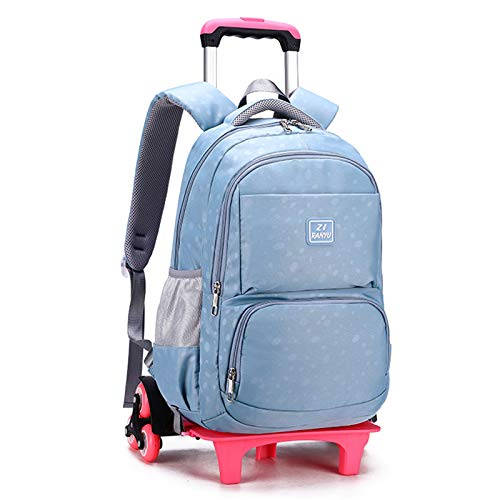 LHY EQUIPMENT Trolley Backpack for Girls, Casual Large Capacity Children's Trolley Rolling Lightweight Waterproof Detachable Wheeled Backpack for Kids Can Climb Stairs,Blue