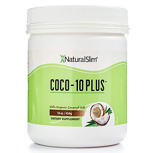 NaturalSlim Coco-10 Plus Organic Coconut Oil w/ CoQ-10 Enzymes - Improves Energy at a Cellular Level - Natural Fat Burner to Any Diet Attempt & Thyroid Support - Well Mixes in Shake No Flavor 16 Oz