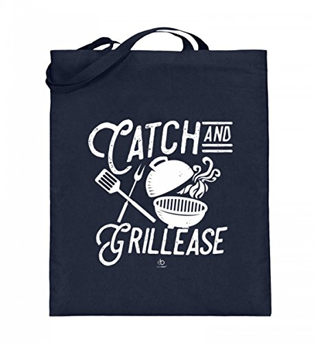 EBENBLATT Catch and Grillease BBQ Barbeque grillen Grillmeister Grillschürze Spruch lustig Geschenk - Jutebeutel (mit langen Henkeln)