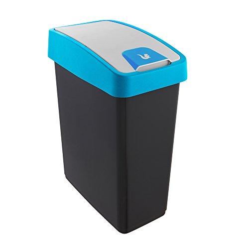 keeeper Premium Abfallbehälter mit Flip-Deckel, Soft Touch, 25 l, Magne, Blau